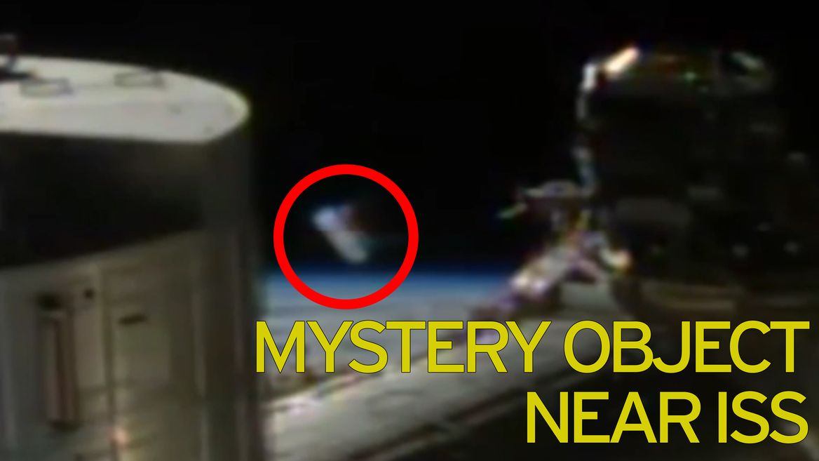 Video thumbnail, Cylindrical craft spotted near ISS before NASA cut the feed.