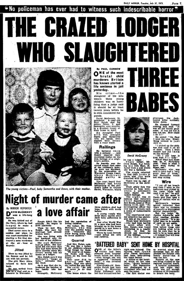 Daily Mirror reports on the David McGreavy case 31st July 1973on Page 7