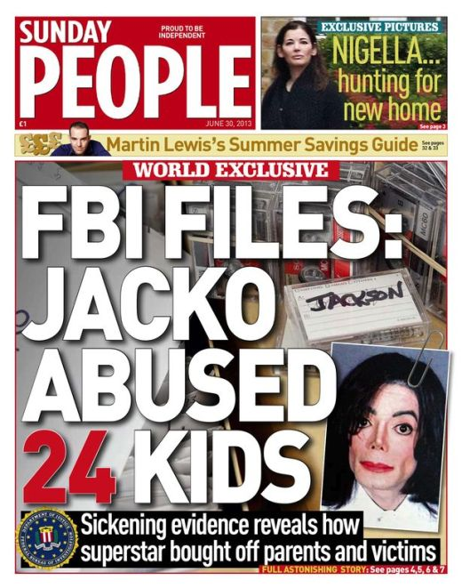 Sunday People Front Page 30th June 2013