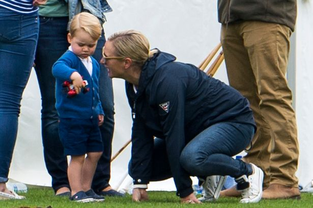 Prince George of Cambridge playing with Zara Phillips