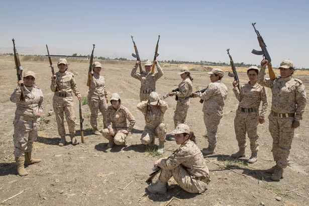 Women Peshmergas of the 2nd Battalion take part in a military exercise