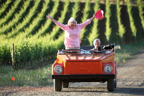 Owners of a vineyard take a sunset drive through the grounds in Willamette Valley, Oregon