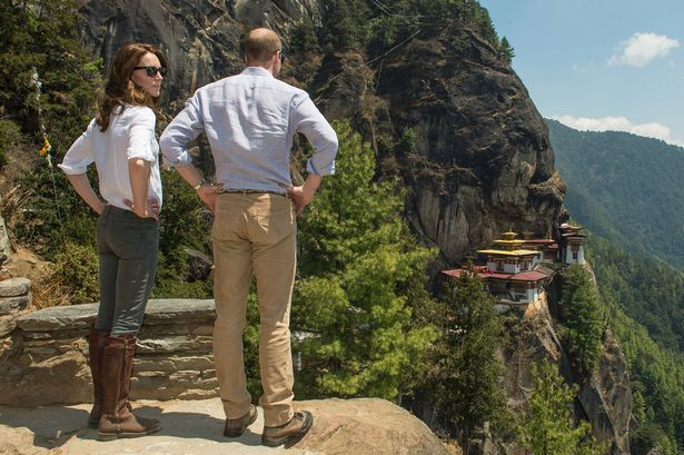 Catherine, Duchess of Cambridge and Prince William, Duke of Cambridge after their trek to the Tiger's Nest Monastery