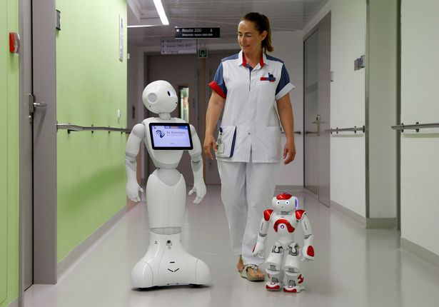 "A nurse walks with ""Pepper"" (L) and ""Zora"" the robots"