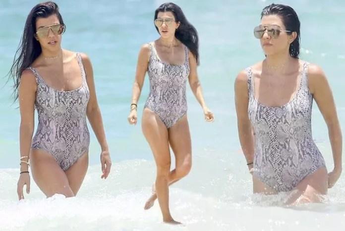 Kourtney Kardashian at the beach with Mason and Penelope in Miami, Florida