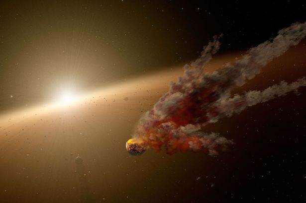 A currently debated theory is dimming by a cloud of comets or the remnants of a shattered planet