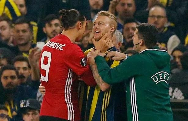 Zlatan Ibrahimovic clashes with Simon Kjaer