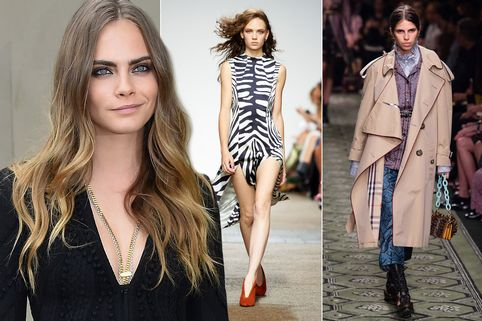 Cara Delevingne and Topshop Unique and Burberry SS17 shows