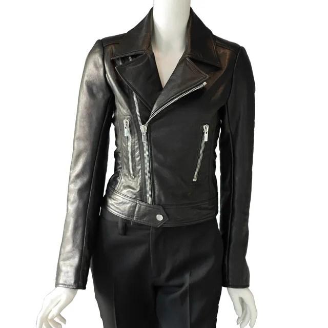 【Balenciaga 巴黎世家】外皮夾克騎士風外套(黑色)