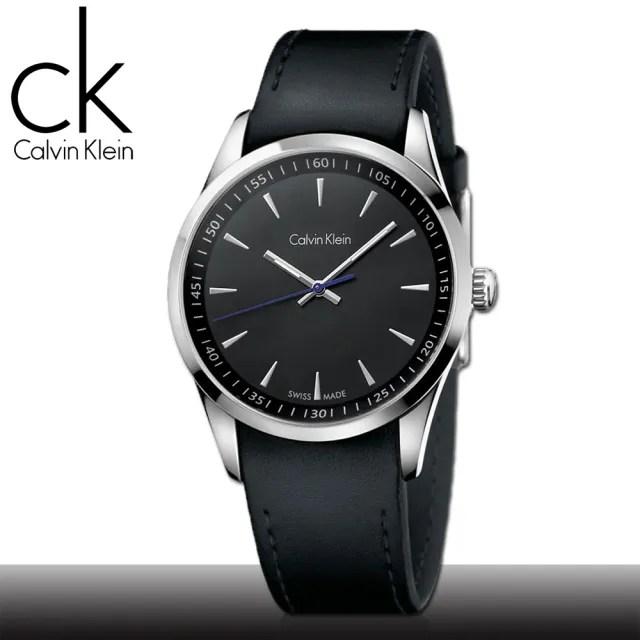 【瑞士 CK手錶 Calvin Klein】黑面_不鏽鋼錶殼_皮革錶帶_時尚男錶(K5A311C1)