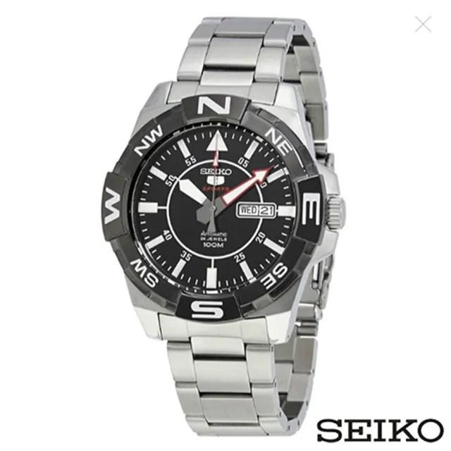 【SEIKO 精工】精工5號夜光自動黑色錶盤不鏽鋼男士手錶(SRPA65J1)