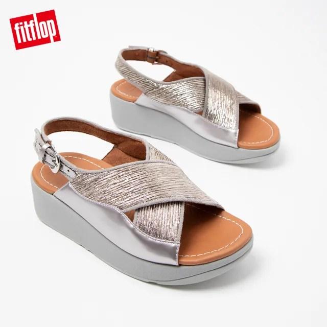 【FitFlop】MYLA GLITZ BACK-STRAP SANDALS 奢華金屬髮絲紋交叉後帶涼鞋-女(銀色)