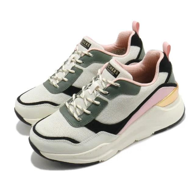 【SKECHERS】休閒鞋 Rovina 厚底 耐磨 老爹鞋 女鞋 異材質拼接 修飾腿型 泡棉鞋墊 米 粉(155011OFPK)