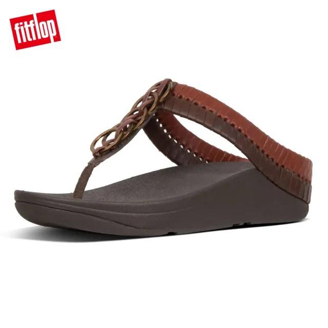 【FitFlop】CIRQUE TOE-THONGS雙色交織設計款夾腳涼鞋-女(琥珀/淺褐)
