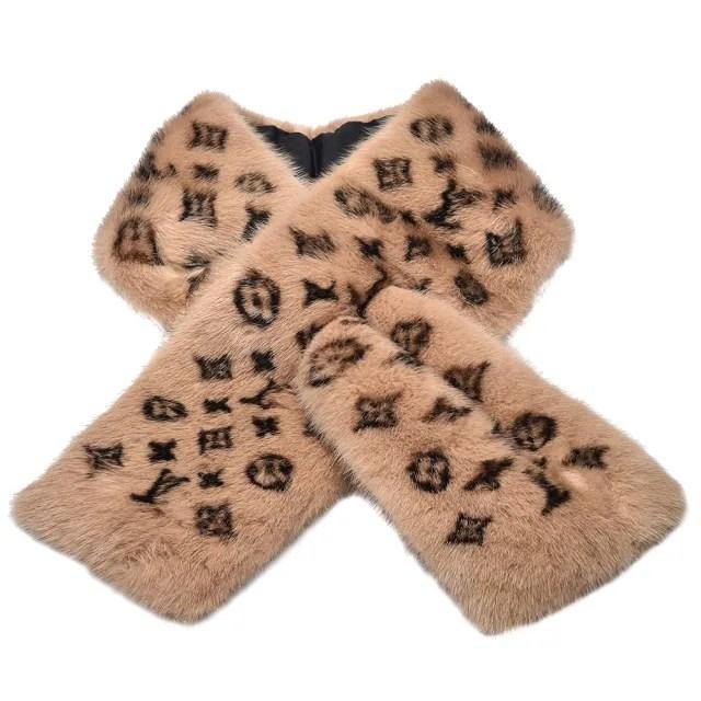 【Louis Vuitton 路易威登】M70646 ECHARPE系列經典Monogram花紋貂毛皮圍巾