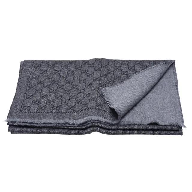 【GUCCI 古馳】經典GG LOGO花紋羊毛流蘇圍巾(灰133483-3G200-1160)