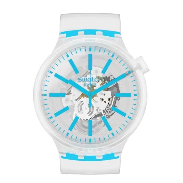 【SWATCH】BIG BOLD JELLY系列手錶 BLUEINJELLY 透淨藍(47mm)