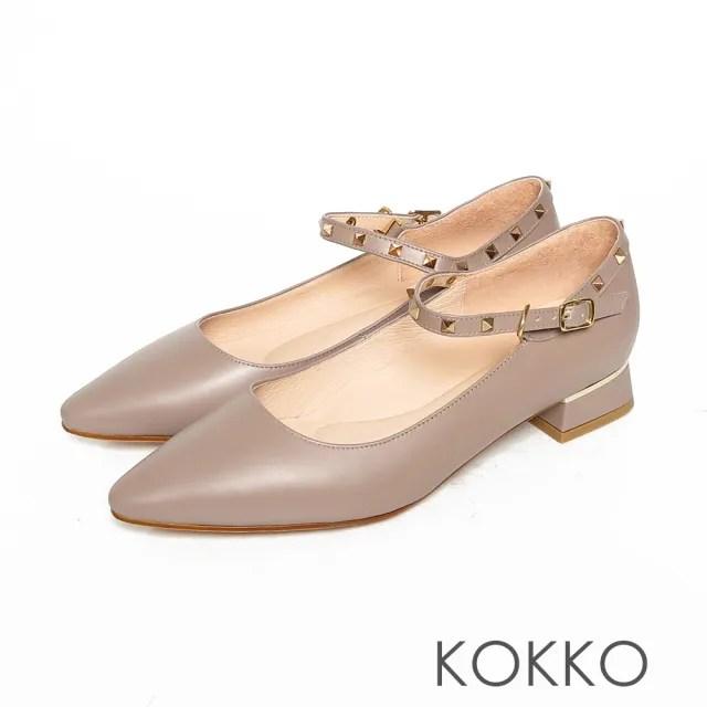 【KOKKO 集團】瑪莉珍方頭鉚釘繫帶牛皮粗跟鞋(中性灰)
