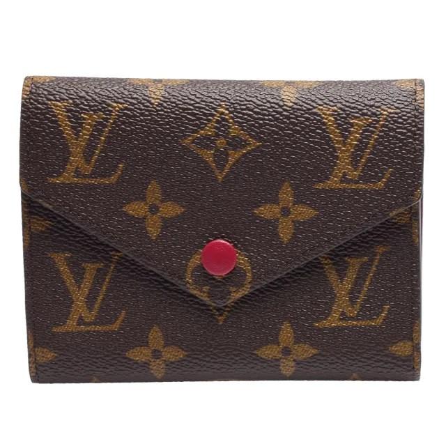 【Louis Vuitton 路易威登】M41938 Victorine系列經典Monogram原花三折暗釦短夾(紫紅)