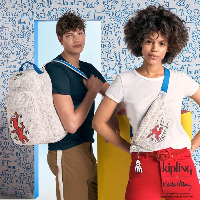 【KIPLING】Kipling x Keith Haring 限量聯名系列簡潔普普印花潮流隨身腰包-FRESH