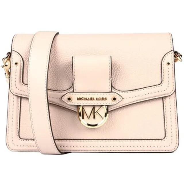 【Michael Kors】專櫃款Jessie系列粉色皮革滿版中號斜背包