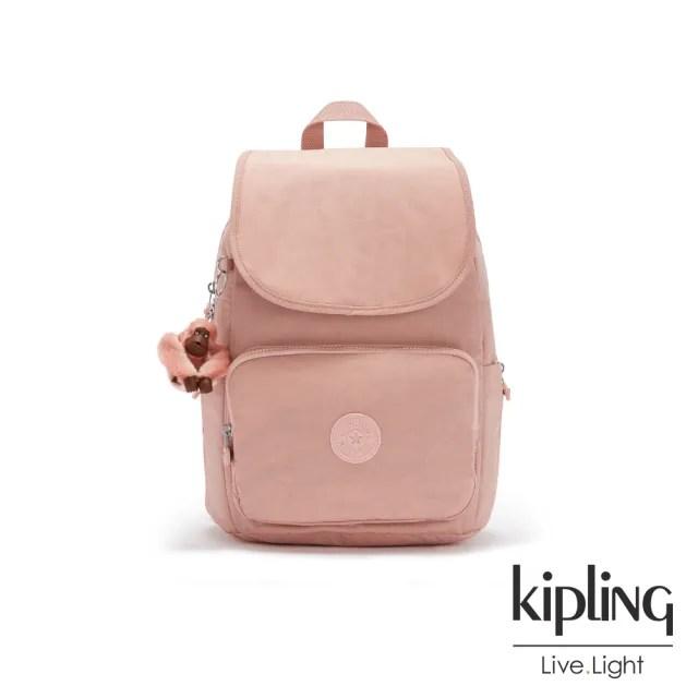 【KIPLING】玫瑰石英粉掀蓋拉鍊後背包-MEDIUM BACKPACK