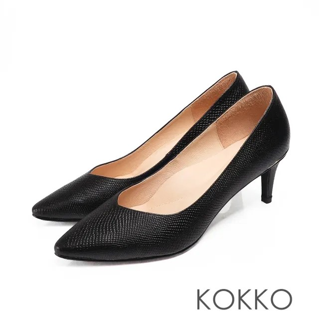 【KOKKO 集團】經典尖頭壓紋羊皮金屬環高跟鞋(質感黑)