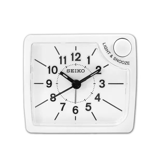 【SEIKO 精工】小巧靜音 滑動式秒針 夜光照明 貪睡鬧鈴 方形指針鬧鐘 / QHE120W(白色)