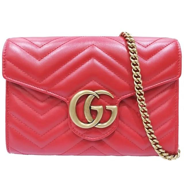 【GUCCI 古馳】474575 GG Marmont系列仿舊金色雙G LOGO 山字車紋牛皮釦式手拿/斜背包(紅色)