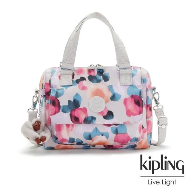 【KIPLING】繽紛夢幻花繪翻蓋手提側背包-ZEVA