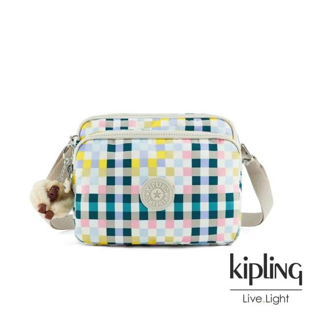 【KIPLING】清爽多彩格紋手提側背包-SHAMANE
