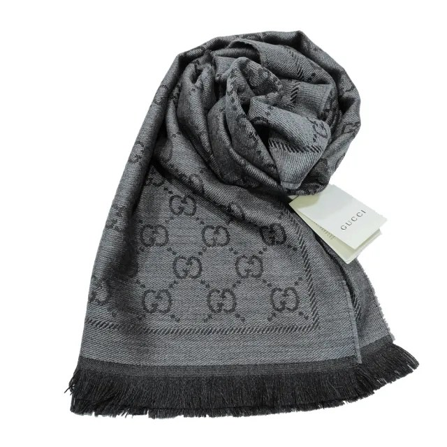 【GUCCI 古馳】133483 經典GG提花LOGO羊毛流蘇圍巾(灰色)