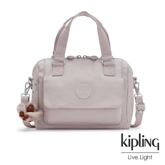 【KIPLING】優雅高級灰翻蓋手提側背包-ZEVA