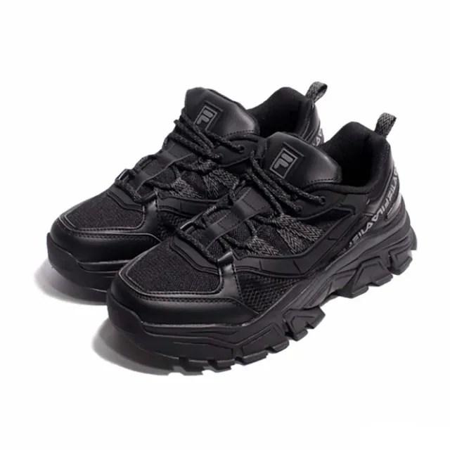 【FILA】休閒鞋 Z Buffer 2 厚底 男女鞋 斐樂 老爹鞋 穿搭 修飾 皮革 黑 灰(4-C353V-001)