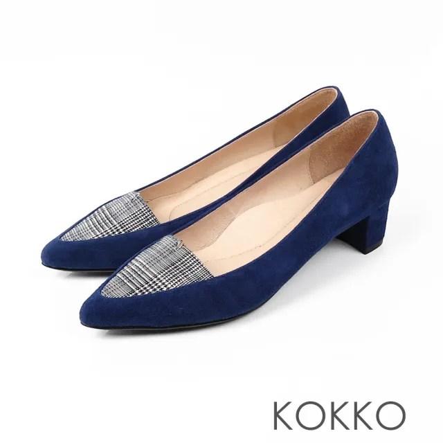 【KOKKO】法式優雅尖頭格紋粗跟鞋(英格藍)