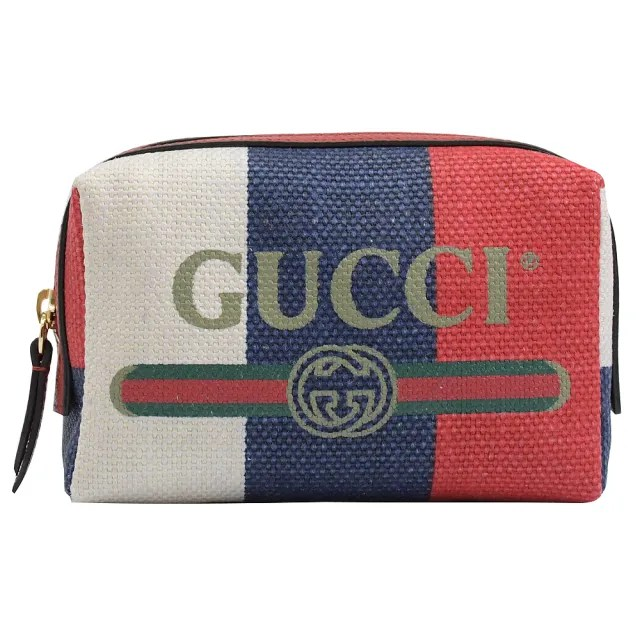 【GUCCI 古馳】綠紅綠條紋雙G LOGO帆布手拿包萬用包(紅)