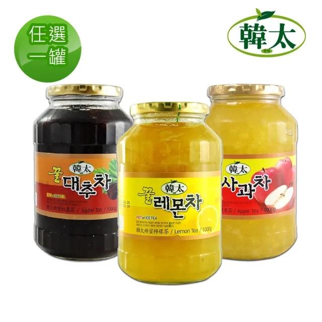 【韓太】韓國蜂蜜沖調茶1kg共1罐任選(柚子/紅棗/蘋果/檸檬/芒果/葡萄柚/生薑)