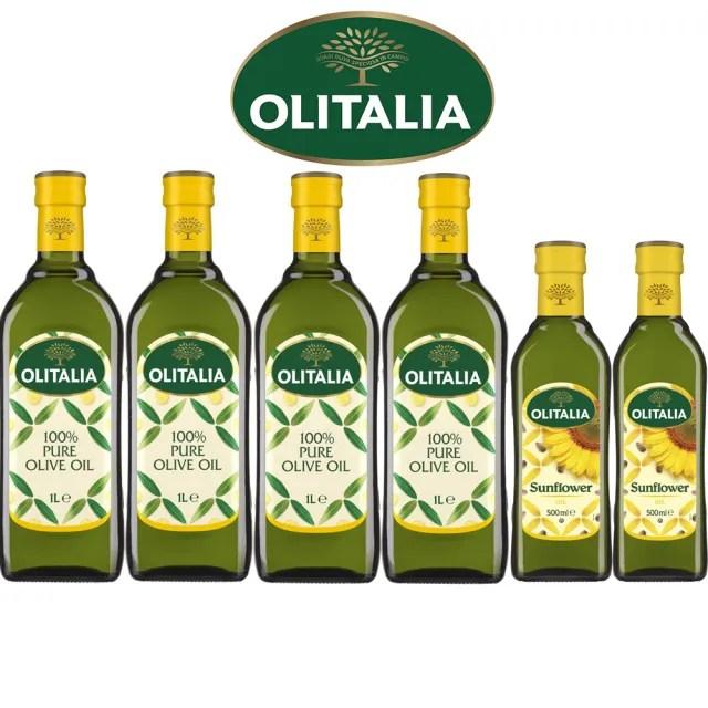 【Olitalia 奧利塔】純橄欖油1000mlx4瓶(+頂級葵花油500mlx2瓶-禮盒組)
