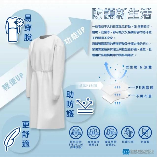 【Isocover】聚陽隔離衣 P1/L1等級防護/台灣製造/F Size/單件包(MIT、防護隔離、P1)