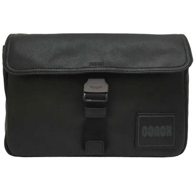 【COACH】PACER男士最愛黑色X咖啡前釦頭胸包腰包斜背包