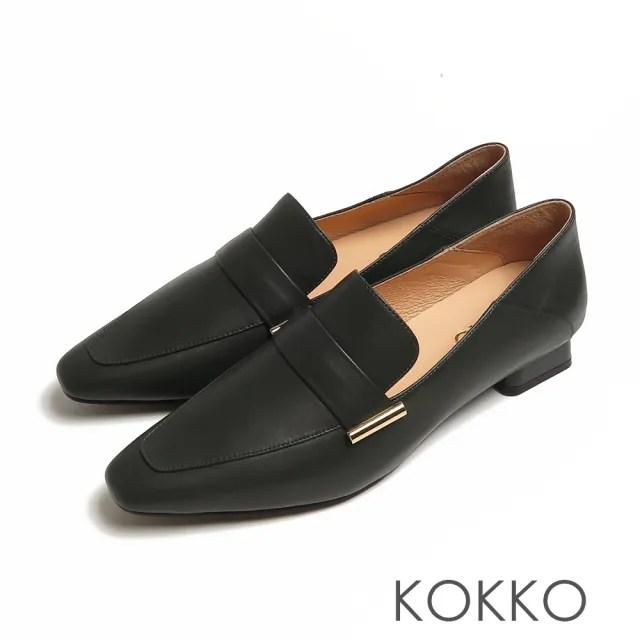 【KOKKO 集團】素面方頭全真皮懶人樂福粗跟鞋(墨綠色)