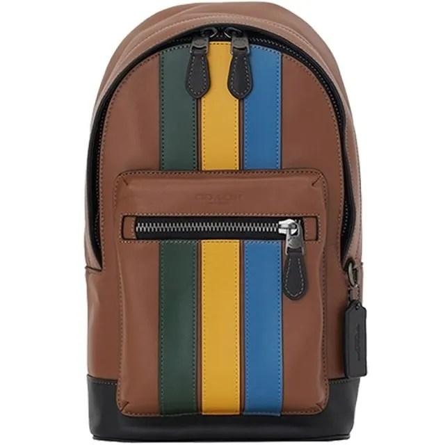 【COACH】男士最愛棕X黃X藍X綠條紋皮革前拉鍊胸包斜背包