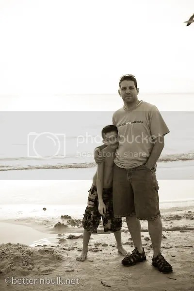 Dad and son on Florida beach
