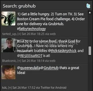 Tweetdeck Search for GrubHub