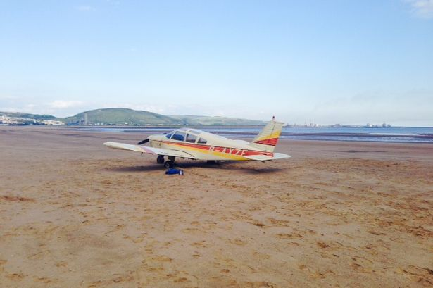 The light aircraft that crash landed on a beach in Swansea