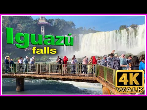【4K】WALK BRAZIL & ARGENTINA Falls 4k video SLOW TV travel vlog