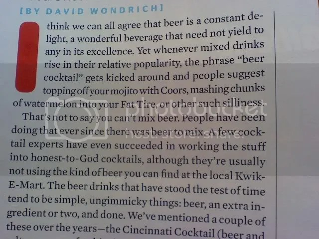 "Segment from Esquire article ""Things to Do with Beer"""