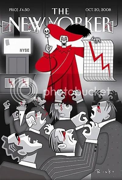 SANGRE. Portada de The New Yorker del 20/10/08, ilustrada por Robert Risko.