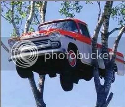 pick up, foto konyol, foto unik, nyangkut di pohon