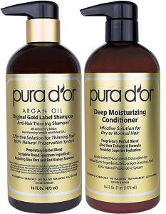 PURA D'OR Original Gold Label Anti-Thinning Shampoo & Deep Moisturizing Conditioner